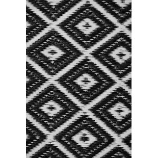 Affordable Price Arabian Nights Black/White Indoor/Outdoor Area Rug By Green Decore