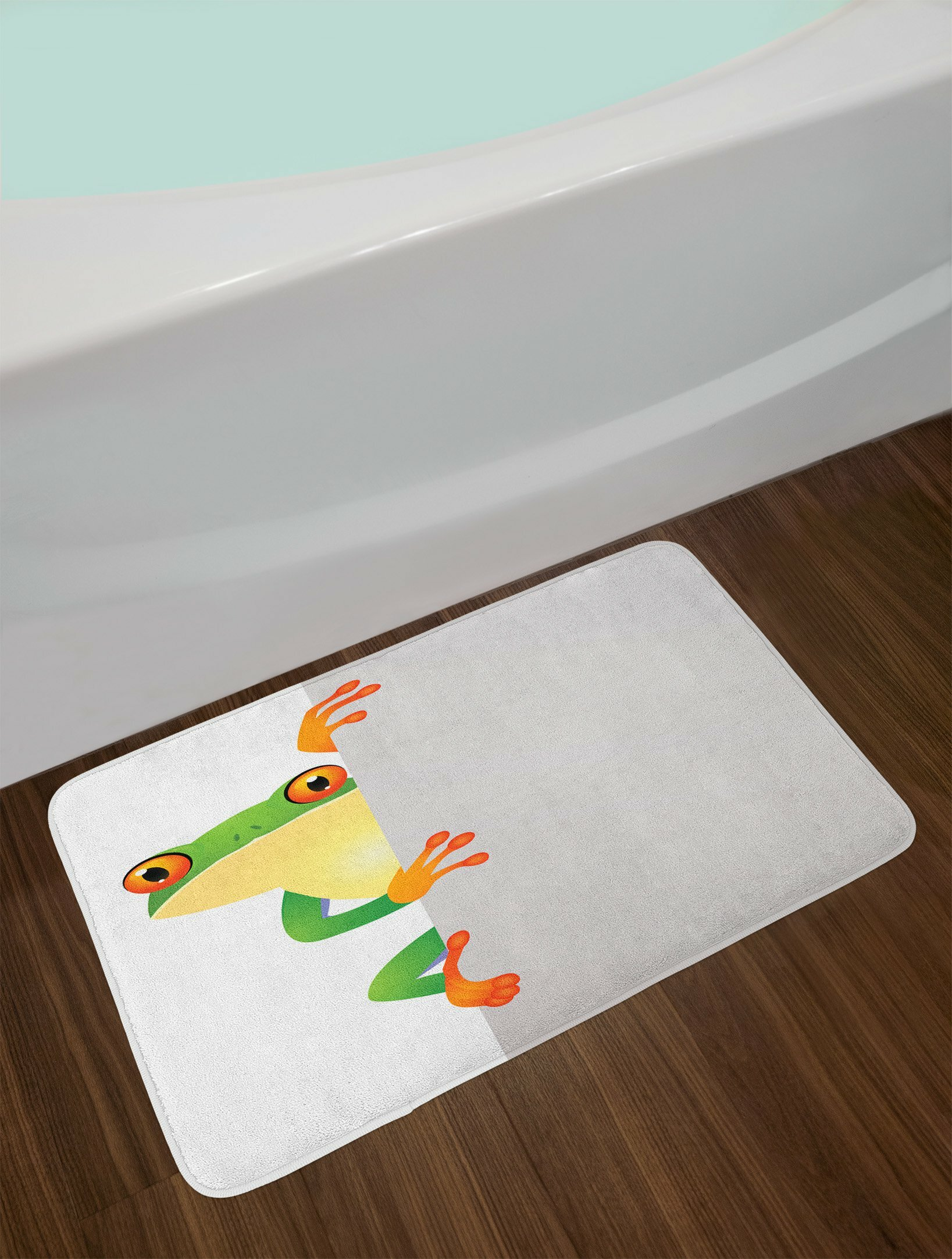 East Urban Home Reptile Funky Frog Prince With Eyes On Wall Camouflage Nursery Theme Non Slip Plush Bath Rug Wayfair