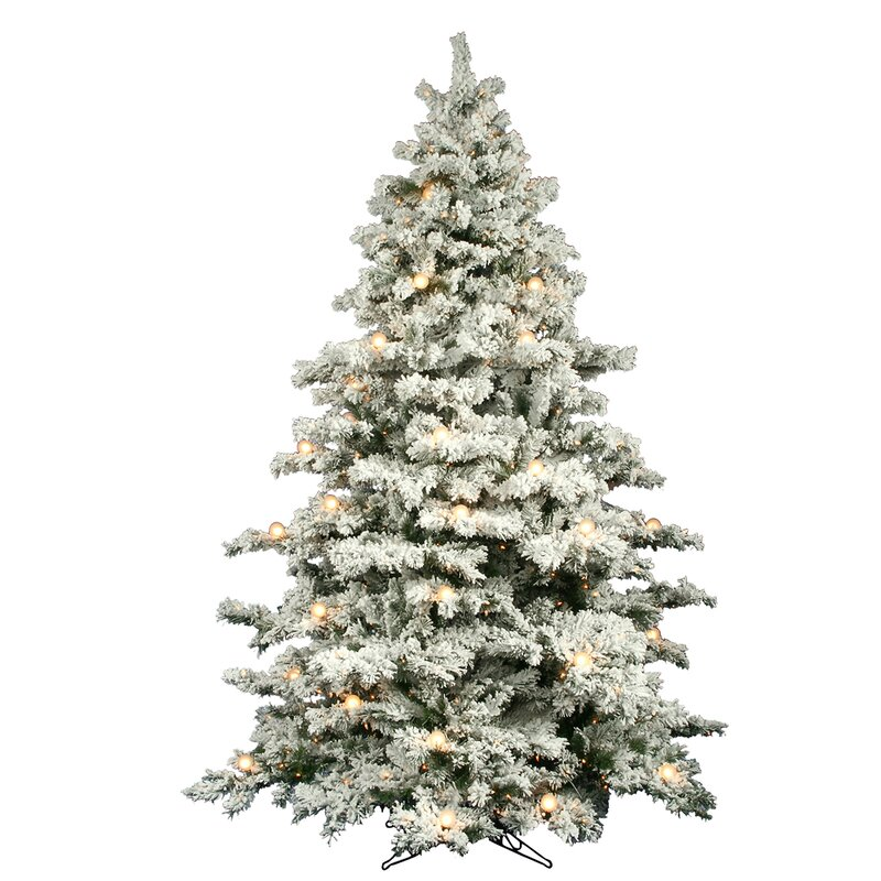 Flocked Alaskan 9' White Spruce Trees Artificial Christmas Tree with 900  LED with Stand - Lark Manor Flocked Alaskan 9' White Spruce Trees Artificial