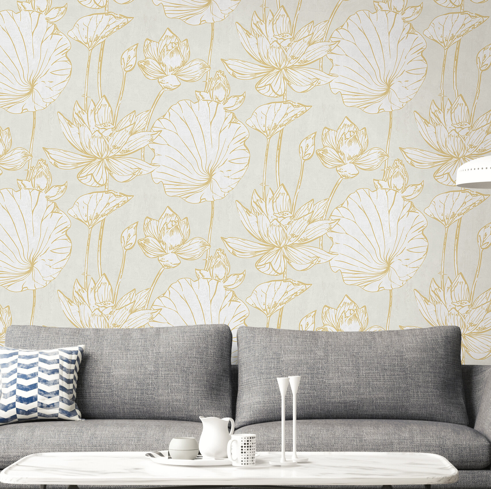 House Of Hampton Artie Lotus Floral 27 L X 27 W Wallpaper Roll