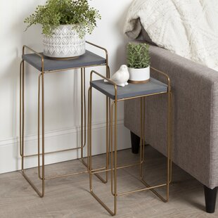 Best Cline Metal and Wood 2 Piece Nesting Tables By Wrought Studio