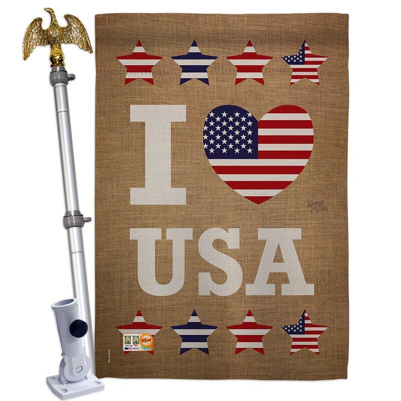 Breeze Decor I Love Usa 2 Sided Polyester 4 X 3 Ft Flag Set Wayfair