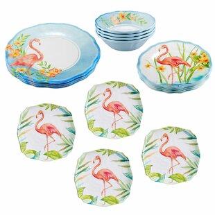 Maron Flamingo 16 Piece Dinnerware Set, Service for 4