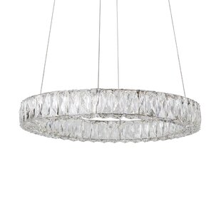 Adeliza Exquisite Diamond Cut 1-Light Crystal Pendant by Everly Quinn