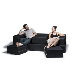 Eugene Denim Sleeper Sofa and Ottomans by Zi..