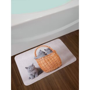 Top Kitten Three British Cats Kitties in Basket Adorable Baby Animals Fluffy Pets Non-Slip Plush Bath Rug ByEast Urban Home