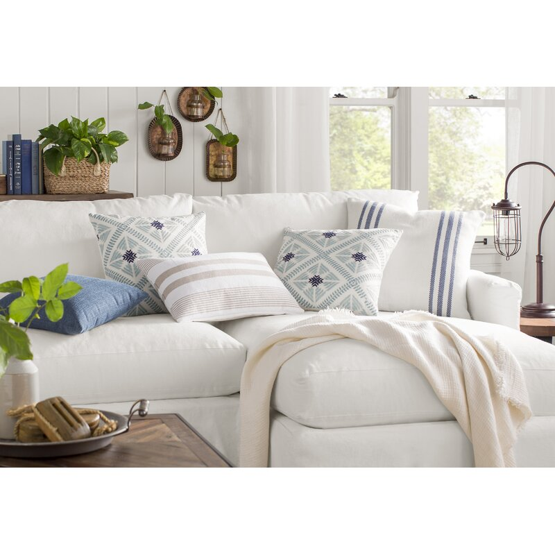 White sofa sectional with blue accents on pillows. #sectional #sofas #furniture #livingroomdecor