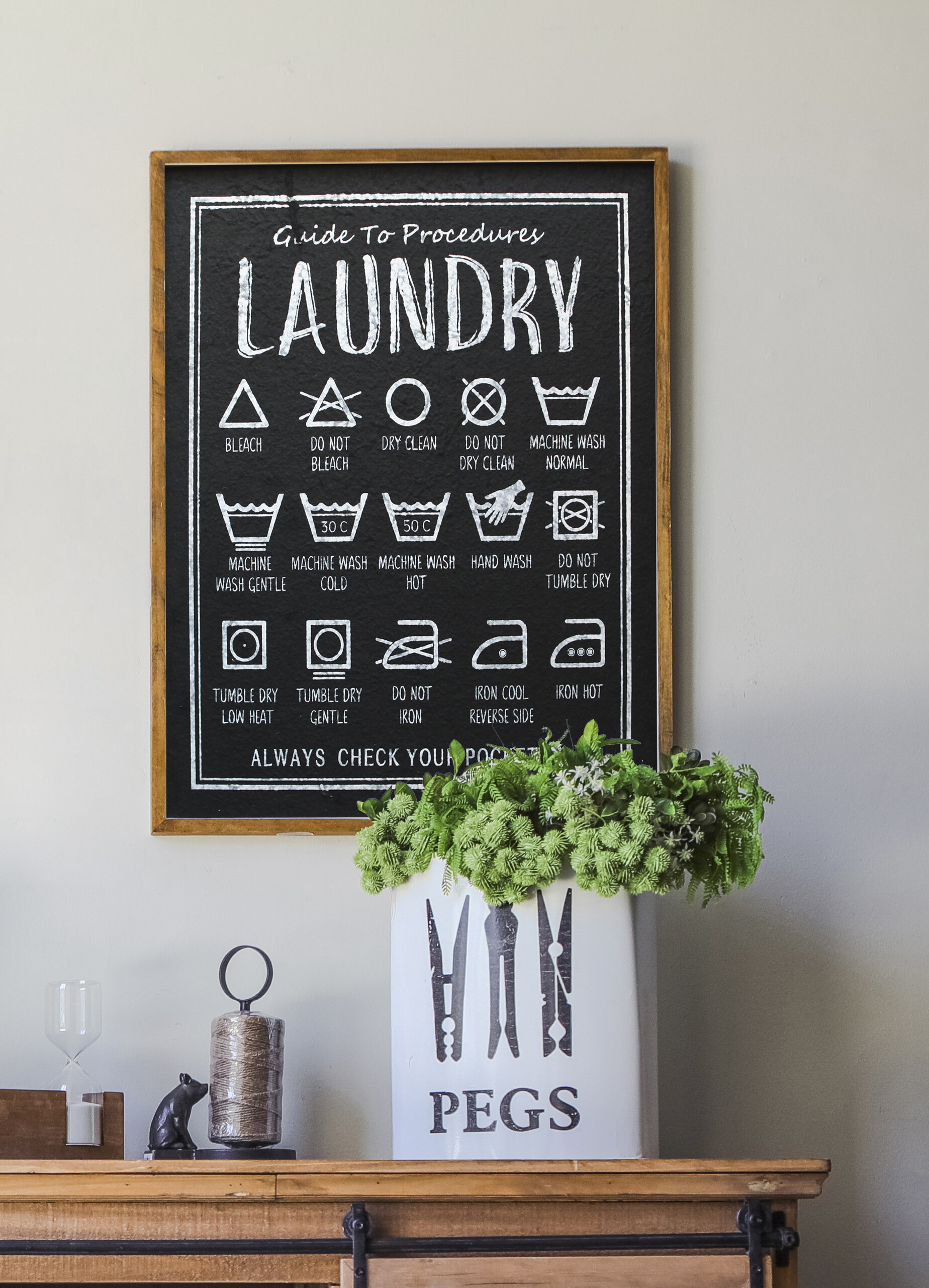 Mike Melissa Framed Laundry Symbols Guide Wood Wall Sign Reviews