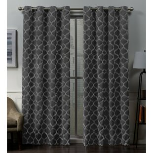 Belisle Embroidered Geometric Blackout Thermal Grommet Curtain Panels (Set of 2) by Darby Home Co