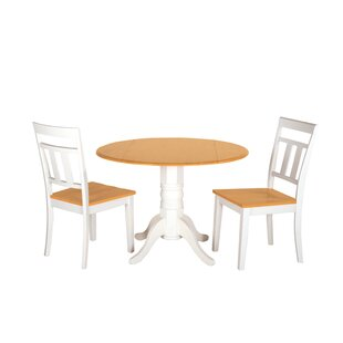 Adette 3 Piece Drop Leaf Solid Wood Dining Set by August Grove