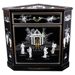 Camille Mother of Pearl 2 Drawer Corner Accent Cabinet by World Menagerie