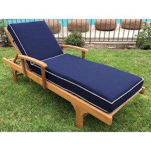 Trijaya Living Jaya Reclining Teak Chaise Lounge with Cushion