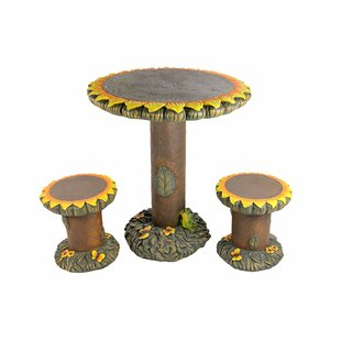 Savings 3 Piece Sunflower Table and Chair Novelty Garden Patio Furniture Set :Affordable Price