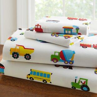 Wildkin Olive Kids Trains, Planes and Trucks 205 Thread Count 100% Cotton Sheet Set