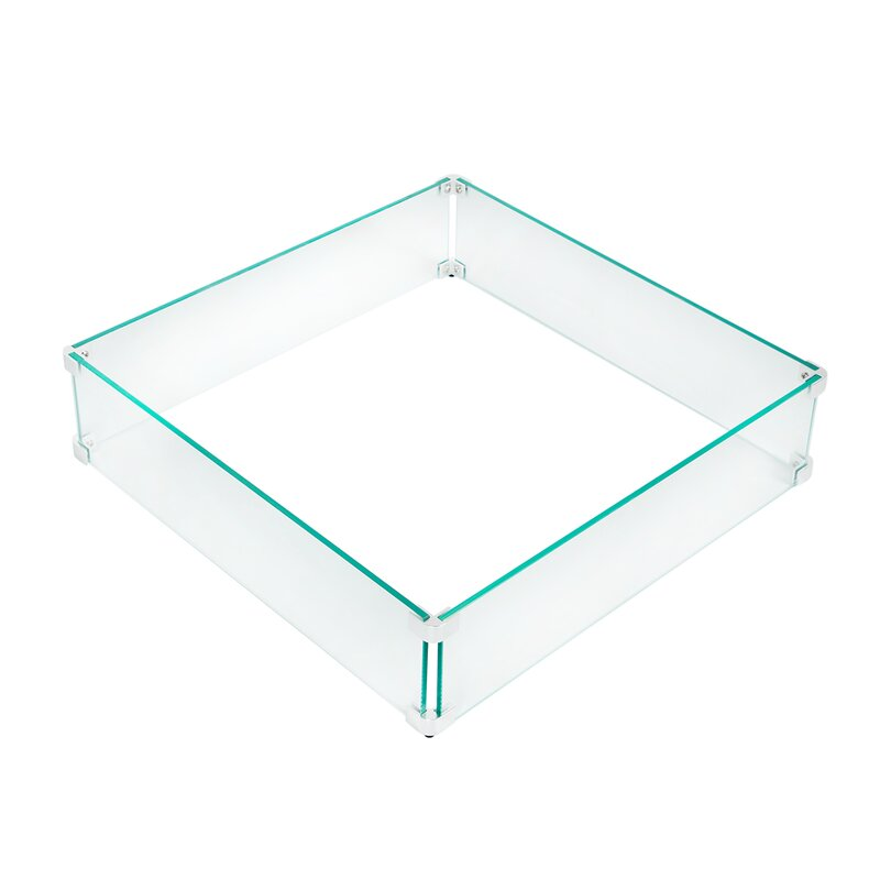 U Max Tempered Glass Outdoor Square Fire Pit Flame Guard Reviews Wayfair