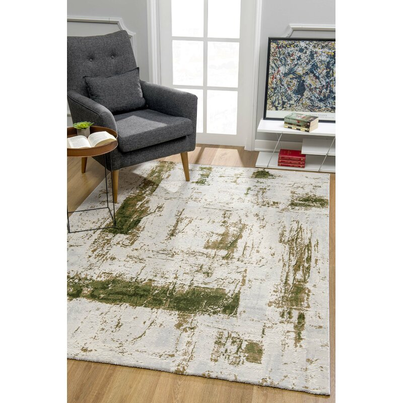 Williston Forge Alexzander Abstract Green Area Rug Reviews Wayfair