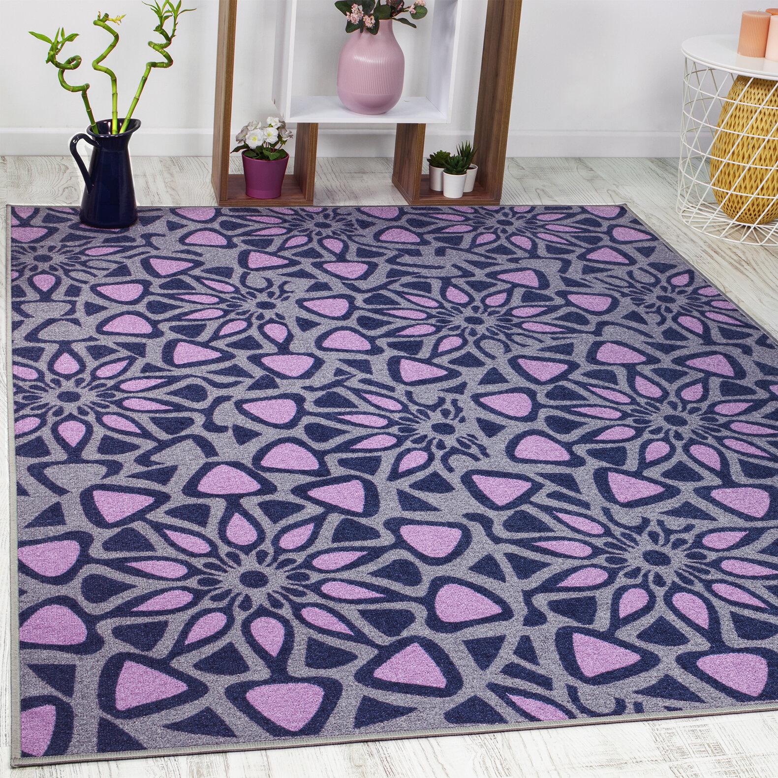 Ebern Designs Guilhem Geometric Purple Area Rug Reviews Wayfair