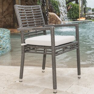 Graphite Stacking Patio Dining Chair with Cushion