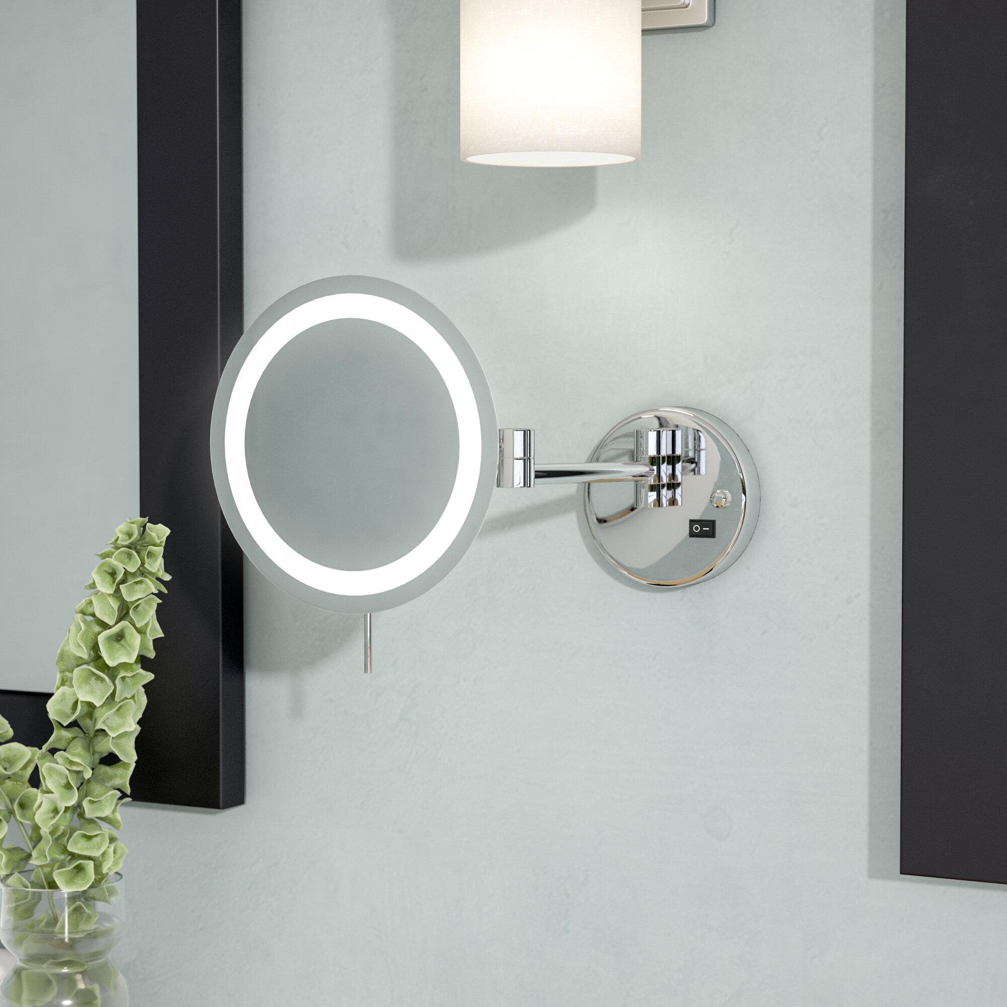 Image of: Ivy Bronx Ignacio Led 8x Magnifying Wall Mount Makeup Mirror Reviews Wayfair