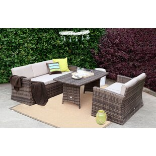 Bridger 3 Pieces Rattan Sofa Seating Group with Cushions