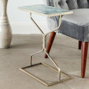 Ivy Bronx Beldon Glass Top Hourglass End Table