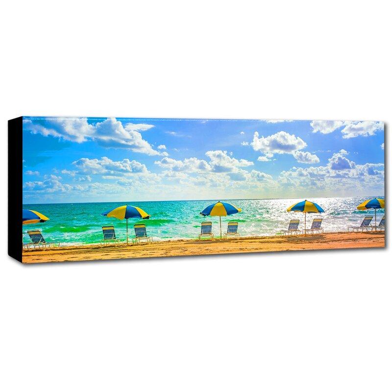 U0027Florida Beach Chairs Umbrellasu0027 Photographic Print On Wrapped Canvas. U0027