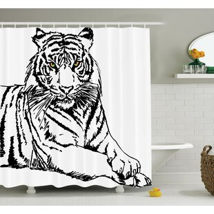 Animal Sketch of Tiger Shower Curtain Set
