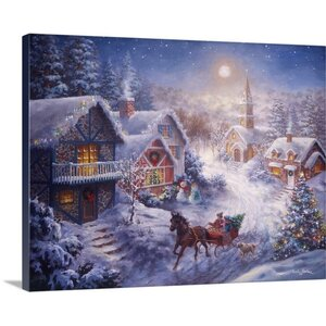 Christmas Art 'In a One Horse Open Sleigh' by Nicky Boehme Painting Print on Wrapped Canvas