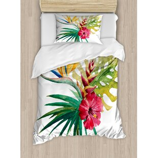 Wild Tropical Orchid Flower with Large Leaves Exotic Petals Picture Duvet Cover Set
