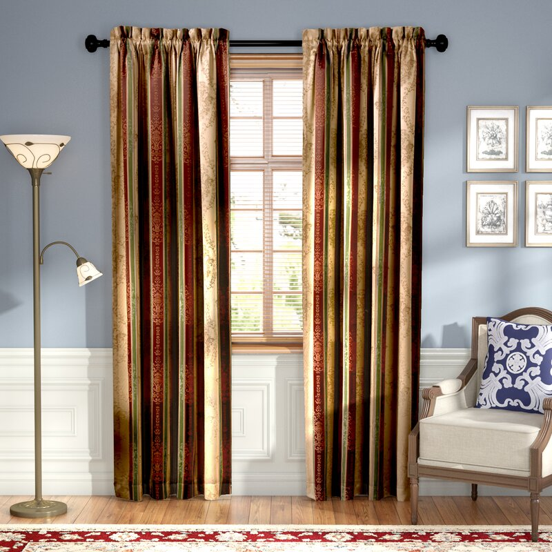 Astoria Grand Roseline Striped Blackout Rod Pocket Curtain
