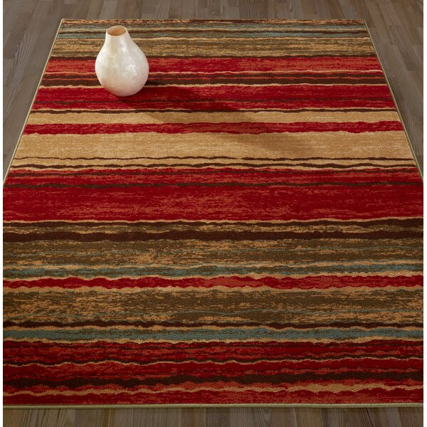 diagona designs anne stripe red/brown area rug & reviews | wayfair.ca