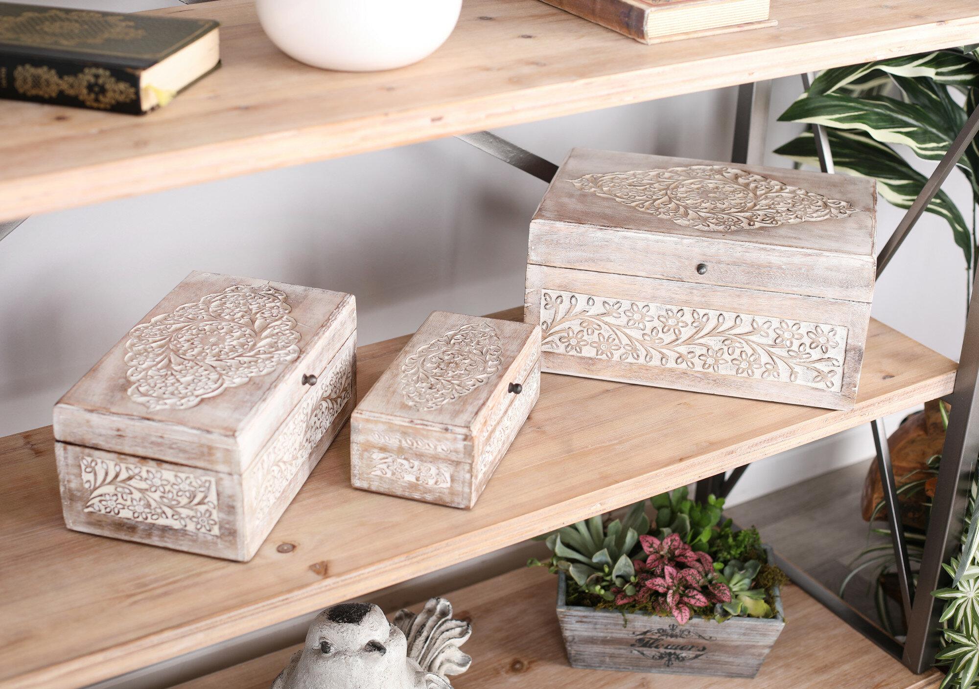 Set 10 Solid Midnight Black Nesting Decorative Shelf Storage Gift Boxes