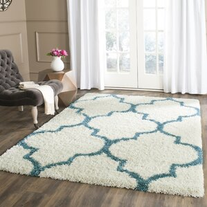 Kids Off White And Teal Shag Area Rug
