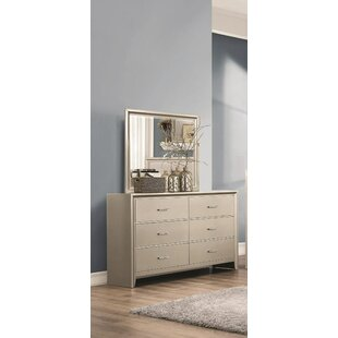 Willa Arlo Interiors Enya 6 Drawer Double Dresser with Mirror