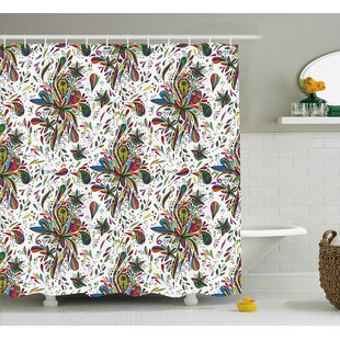 Tasha Colorful Decorations Theme Bright Ethnic Pattern With Floral Ornament Print Single Shower Curtain