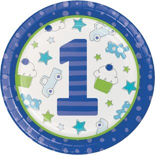 Doodle 1st Birthday Boy Paper Dinner Plate (Set of 24)