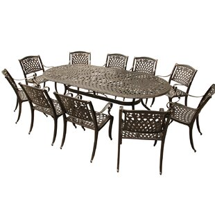Caskey Rose Outdoor Mesh Lattice 11 Piece Dining Set