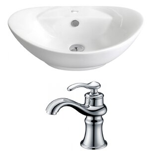 Above Counter Ceramic Oval Vessel Bathroom Sink with Faucet and Overflow ByRoyal Purple Bath Kitchen