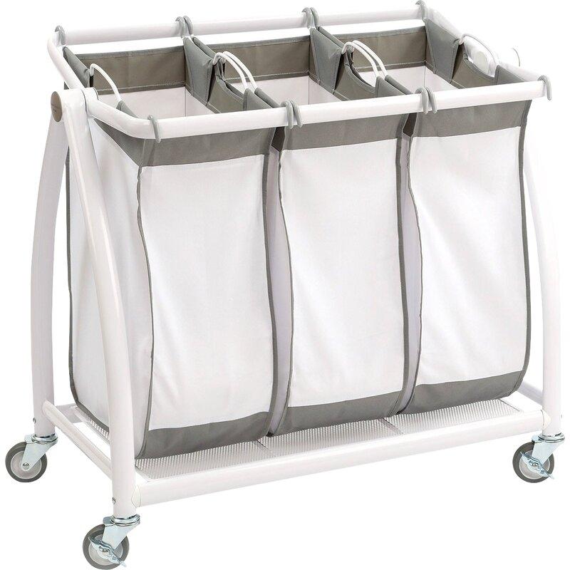 Crème Pliant Blanchisserie 3 Section Sac à vêtements Trieur Poubelle Lavage Panier à NEUF