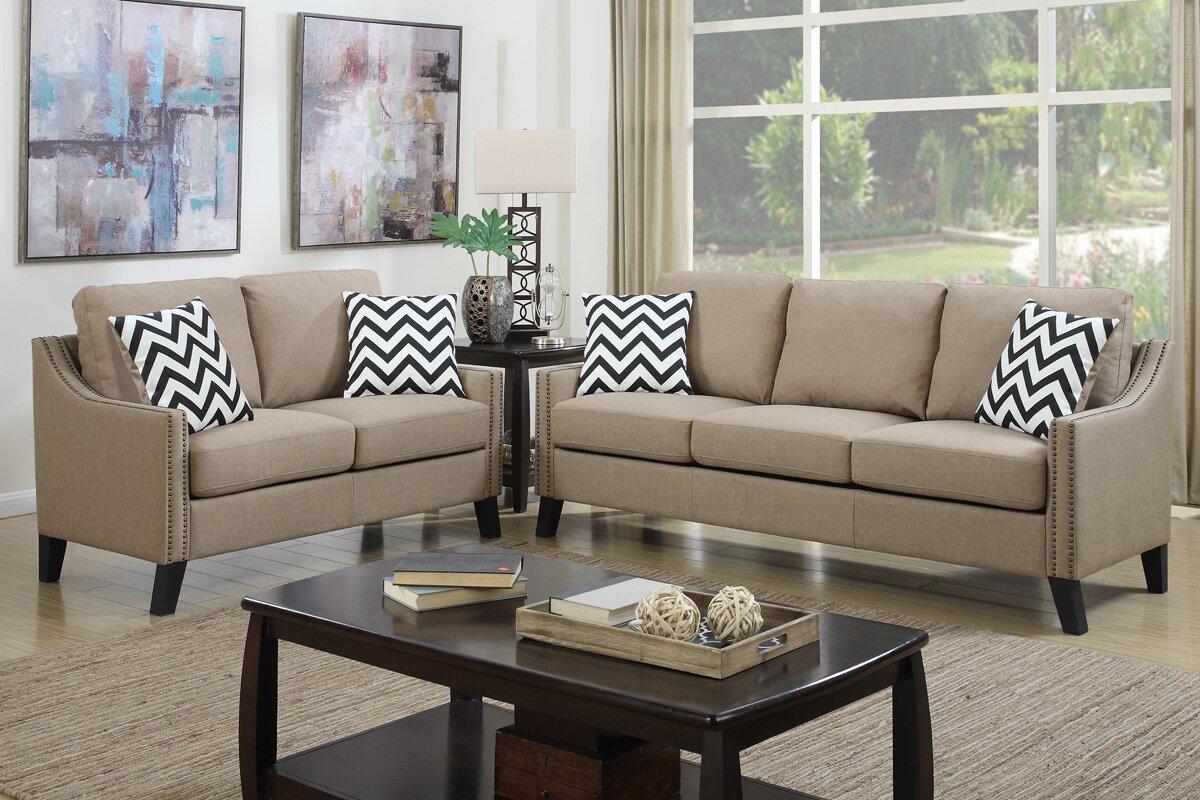 Superbe Bobkona Debora 2 Piece Living Room Set