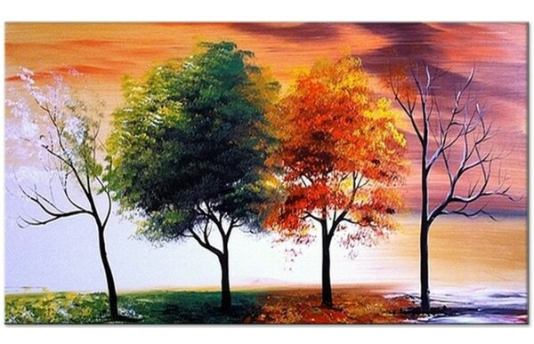Latitude Run Four Seasons Nature Tree Painting On Canvas