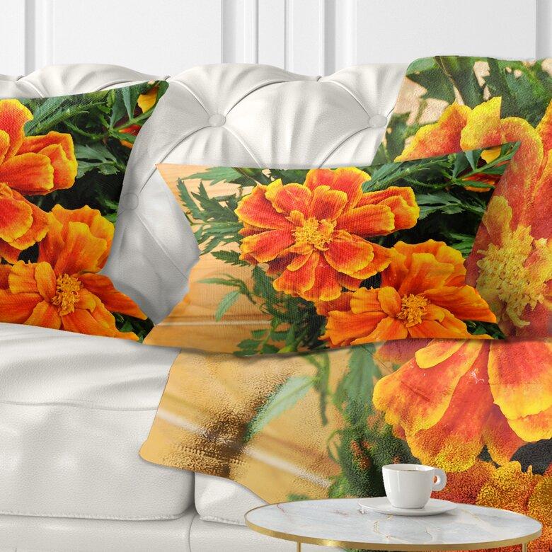 East Urban Home Floral Marigold Flower On Wooden Background Lumbar Pillow Wayfair Ca