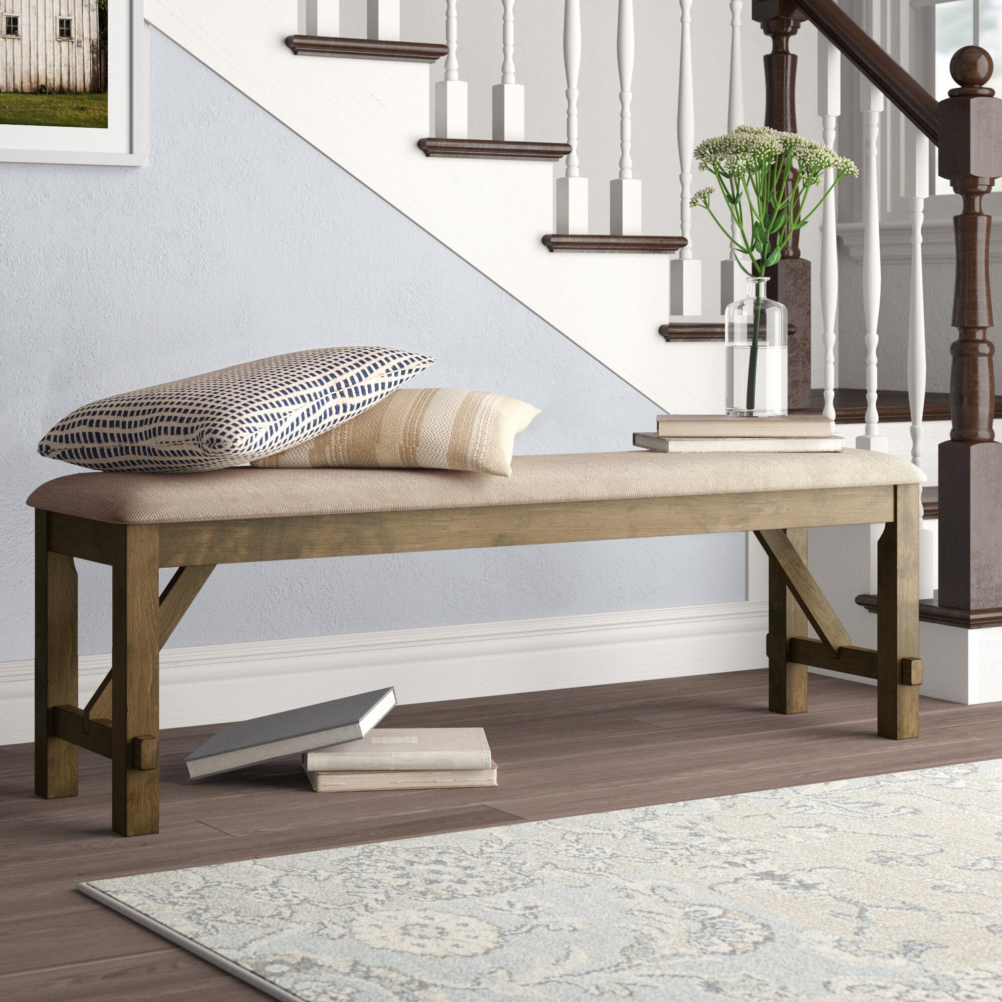 Gracie Oaks Poe Upholstered Bench Reviews Wayfair