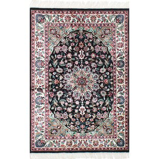 One-of-a-Kind Hammock Hand-Knotted Silk Black Area Rug Isabelline