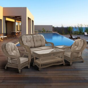 Ophélie 5 Piece Rattan Sofa Set with Cushions