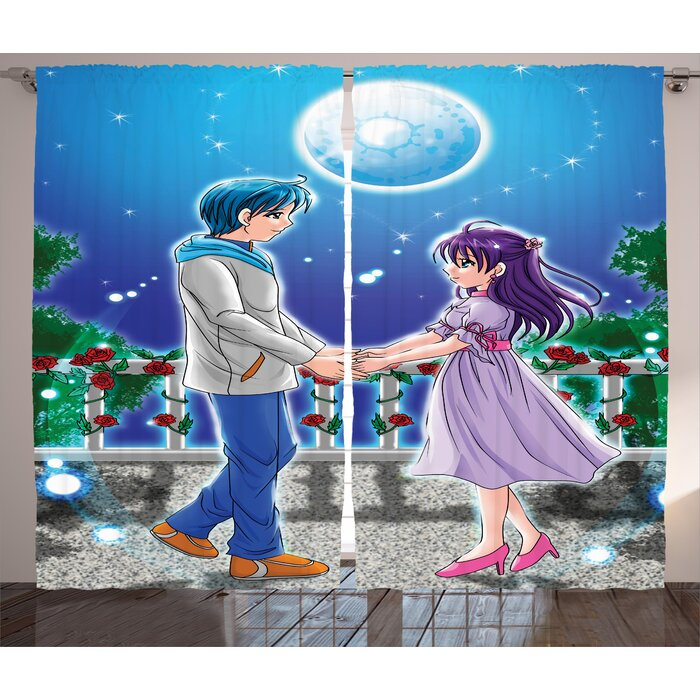 Anime Illustration Of Romantic Couple Holding Hands Under Moonlight Love In Manga Themed Print Graphic