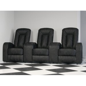 Leather Home Theater Group Seating Row of 3 by Freeport Park