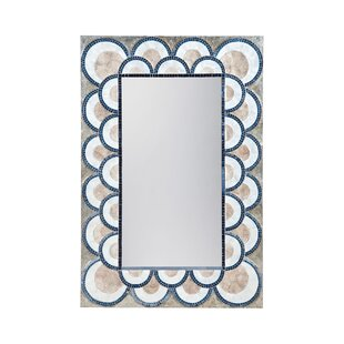 Renninger Art Deco Capiz Shell and Glass Mosaic Wall Mirror ByBungalow Rose