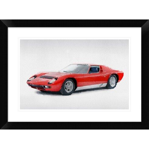 U00271969 Lamborghini Miura P400 S U0027 Framed Watercolor Painting Print. U0027