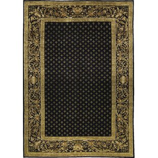 Affordable Price One-of-a-Kind Himalayan Art Emblem Spread Hand-Knotted Wool Gold/Black Area Rug ByBokara Rug Co., Inc.